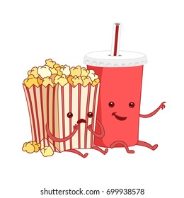 Vector cartoon illustration. fast food. Friends forever. Popcorn, cola, movies, cinema. Comic characters.