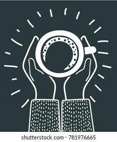 Vector cartoon illustration of female hands and a cup of coffee on. Top view. Modern concept in black and white colors.