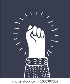 Vector cartoon illustration of fist vector icon isolated on white background, hand with shaking fist raised up. Outline white object on dark background.