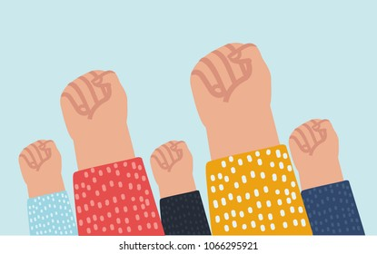 Vector cartoon illustration of fists up as a sign of protest.