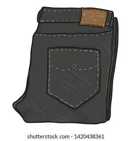 Vector Cartoon Illustration - Folded Black Denim Jeans on White Background