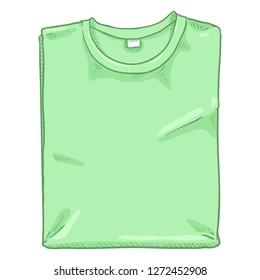 Vector Cartoon Illustration - Folded Light Green T-shirt