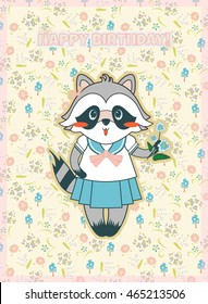 Vector cartoon illustration. Forest, mori-girl style postcard, happy birthday greeting card, lucky raccoon with leaves, herbs, mushrooms and flowers background. Light, tender, pastel pink colors