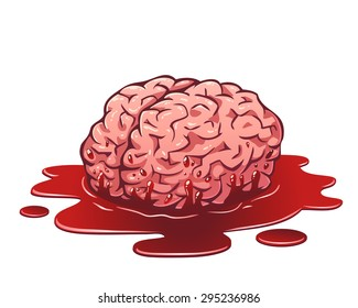 Vector cartoon illustration of the fresh brain in a puddle of blood