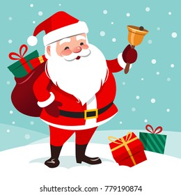 Vector cartoon illustration of friendly smiling  Santa Claus ringing a bell, sack with gifts on back, snow falling in the background, presents lying around on the ground. Christmas design element.