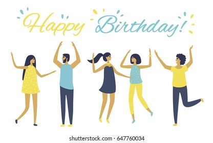 Vector cartoon illustration. Friends wish happy birthday. People celebrate. Cheerful women and men are dancing. People have fun and jumping. Funny characters. Flat design. White background isolated.