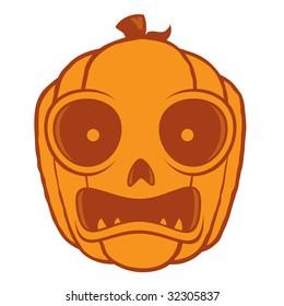 Vector cartoon illustration of a frightened Jack-O-Lantern pumpkin head. Great for Halloween decorations or designs.