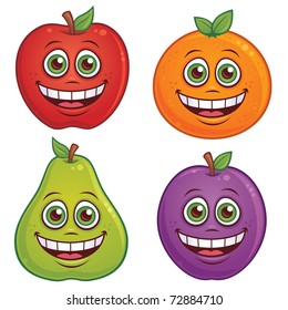Vector cartoon illustration of fruit with smiling faces. Apple, orange, pear and plum characters included.