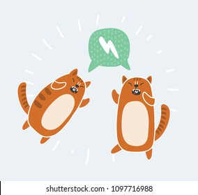 Vector cartoon illustration of funny angy red fighting cats.