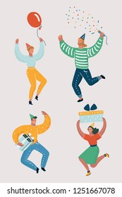 Vector cartoon illustration of funny celebrate people dancing at a party. People are dancing, having fun at a party. Jumping and dancing man and woman.