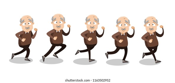 Vector cartoon illustration of funny overweight bald grandfather character running. Happy old man character design. Isolated on white background.