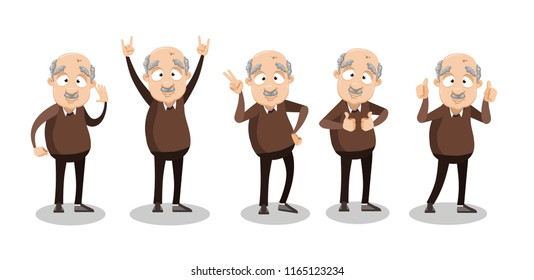 Vector cartoon illustration of funny overweight bald grandfather character gesturing, showing signs with hands. Happy old grandpa character design.