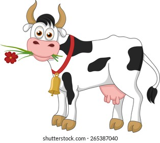 Vector cartoon illustration of funny smiling cow with horn and udder, golden bell, eating grass and flower isolated on white background