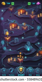 Vector cartoon illustration game user interface - background horrible Halloween wall with pumpkin map window
