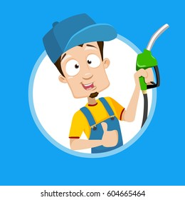 Vector cartoon Illustration of gas gasoline fuel attendant worker smiling holding fuel pump nozzle set inside circle on isolated background