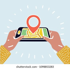 Vector cartoon illustration of Geo Pin Tag on mobile phone display. Smartphone with map on screen. Human hand hold phone. Destination point on screen.