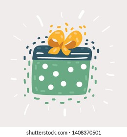 Vector cartoon illustration of Gift box with ribbon on isolated white background.