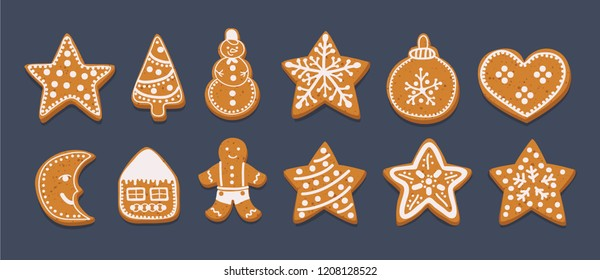 Vector cartoon illustration Gingerbread Cookies set isolated on dark background. Decorative Xmas tree, sock, snowman, ball, man, star, candy, house