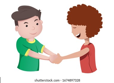 Vector cartoon illustration of girl and boy shaking hand. Isolated on white background.