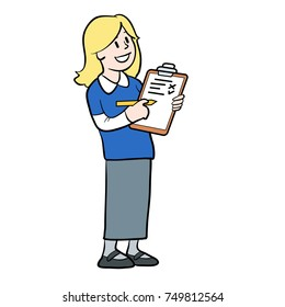vector cartoon illustration of a girl with a clipboard and pencil conducting a survey, at school, in school uniform, asking questions, standing, talking, asking or speaking.