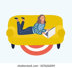 Vector cartoon illustration of Girl with a Laptop on a Sofa the woman lies on her stomach with laptop. Working or relax.
