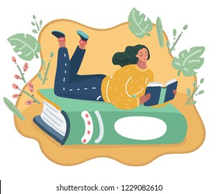 Vector cartoon illustration of a girl lying at green book and reading.