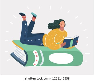 Vector cartoon illustration of a girl lying on a big green book.