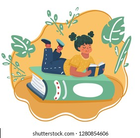 Vector cartoon illustration of Girl reading book, lies on the giant one. Human kid character.