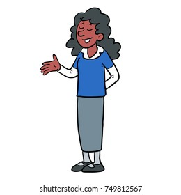 vector cartoon illustration of a girl speaking, or responding, standing and asking or answering a survey, at school, in school uniform.
