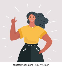 Vector cartoon illustration of girl or young woman with index finger up.