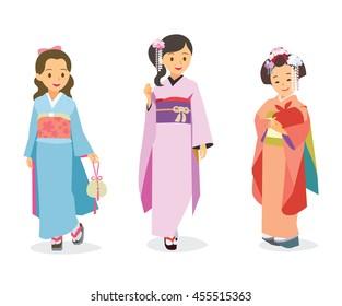 Vector cartoon illustration girls in Japanese traditional costume Kimono.