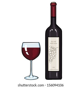 vector cartoon illustration: glass and bottle of red wine