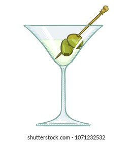 Vector Cartoon Illustration - Glass of Martini with Green Olives