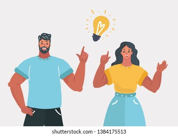 Vector cartoon illustration of good idea concept. People couple have solution. Man and woman and light bulb sign.