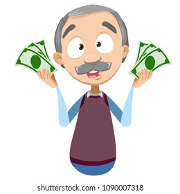 Vector cartoon illustration of grandfather character with banknotes of money in his hands. Vector illustration in cartoon flat style, isolated on a white background.