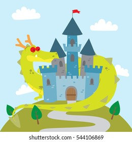 Vector cartoon illustration of a green dragon behind the castle in fairy tale story for children