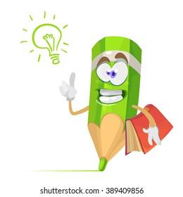 Vector cartoon illustration of a green pencil character mascot holding a book, an idea