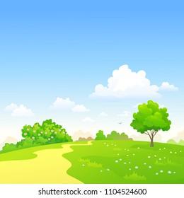 Vector cartoon illustration of a green summer landscape