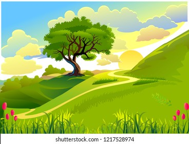 Vector cartoon illustration of a green summer landscape - Glade in a forest. Nature landscape 3d vector background - A high quality horizontal seamless background of landscape with deep forest.