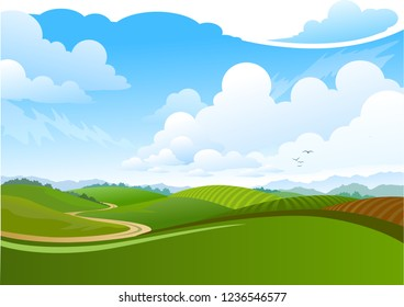 Vector cartoon illustration of a green summer landscape - Glade in a forest. Nature landscape 3d vector background - A high quality horizontal background of landscape with deep forest.