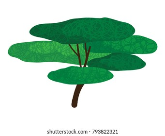 Vector cartoon illustration of green tree isolated against white background
