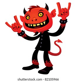 Vector cartoon illustration of a grinning devil character with heavy metal, rock and roll, horns hand signs.