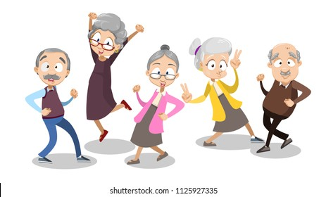 Vector cartoon illustration of group of aged old people dancing. Happy grandparents character design. Vector illustration in cartoon flat style, isolated on a white background.
