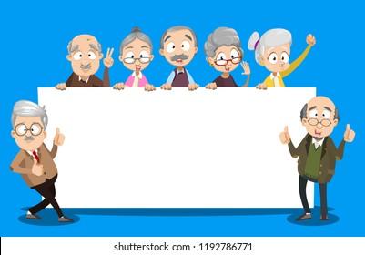 Vector cartoon illustration of group of elder senior people holding big empty banner