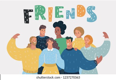 Vector cartoon illustration of Group of happy friends, getting together.