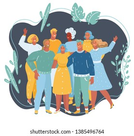 Vector cartoon illustration of Group of happy people and company staff, representing company. Human character on dark background.