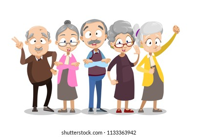 Vector cartoon illustration of group of old senior people standing together. Happy grandparents character design. Vector illustration in cartoon flat style, isolated on a white background.