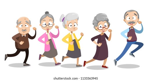Vector cartoon illustration of group of old senior people running. Vector illustration in cartoon flat style, isolated on a white background.