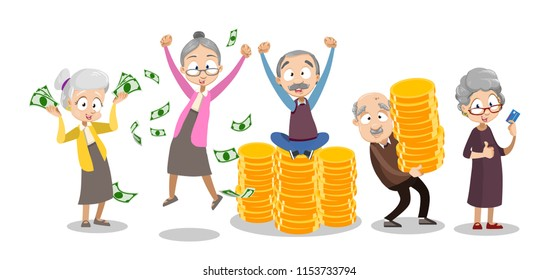 Vector cartoon illustration of group of old senior people getting and saving money. Happy pension and saving concept. Vector illustration in cartoon flat style, isolated on a white background.