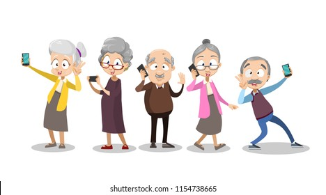 Vector cartoon illustration of group of old senior people using digital devices - talking, texting, making photos and selfies, Vector illustration in cartoon flat style, isolated on a white background